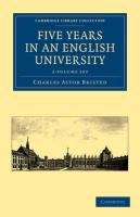 Five Years in an English University 2 Volume Paperback Set (Cambridge Library Collection - Cambridge)