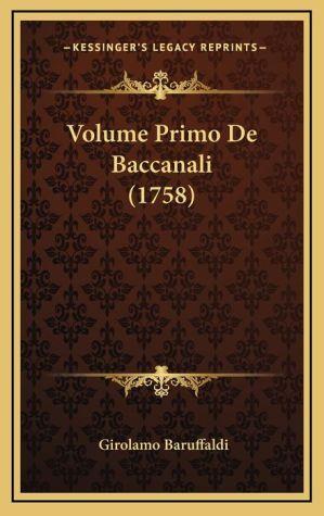 Volume Primo de Baccanali (1758)